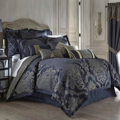 Waterford Vaughn Comforter Set King Blue Amp Gold Damask