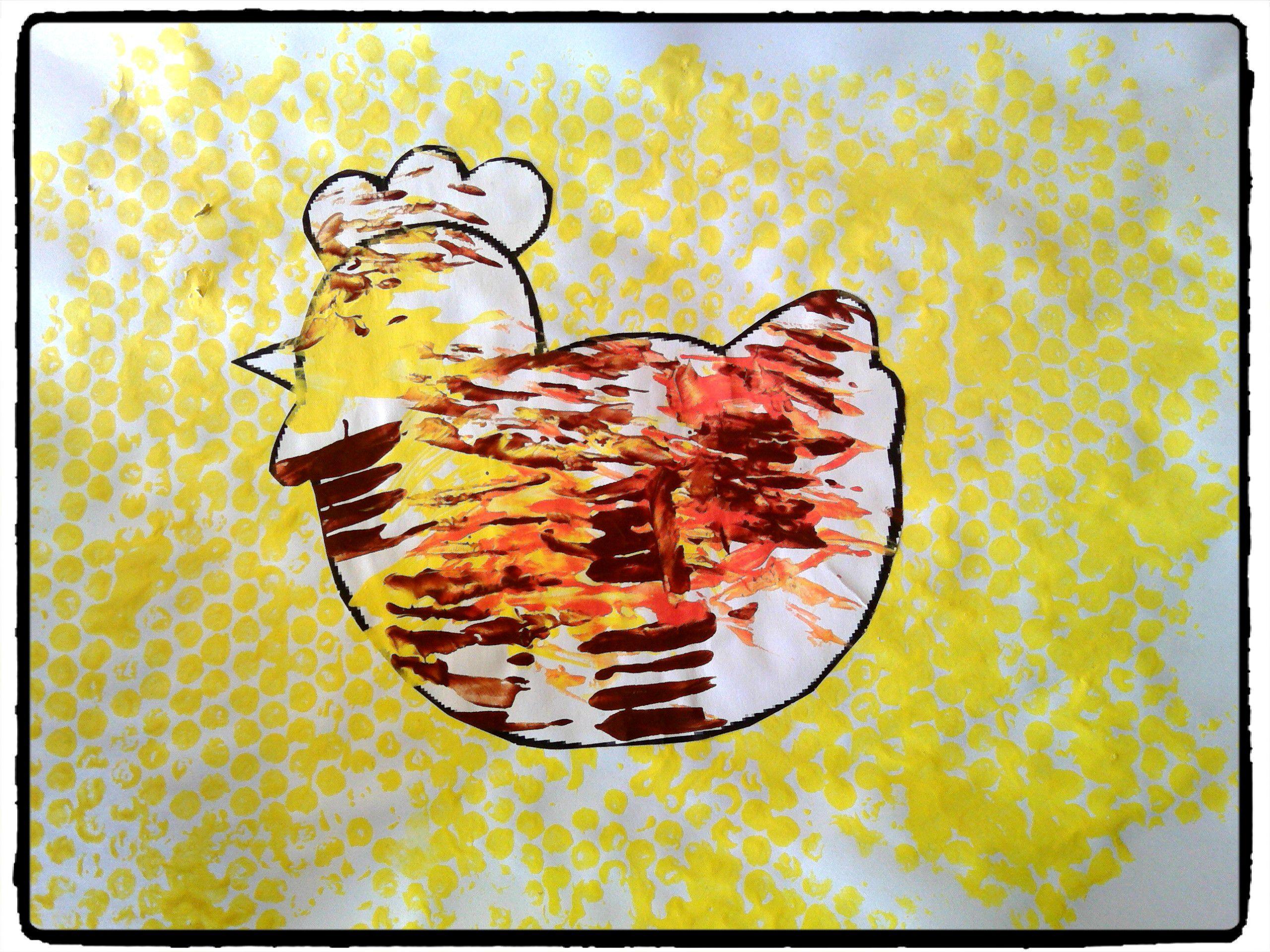 Poule peinture la fouchette bricolage paques animaux de la ferme enfant p ques pinterest - Bricolage enfant paques ...