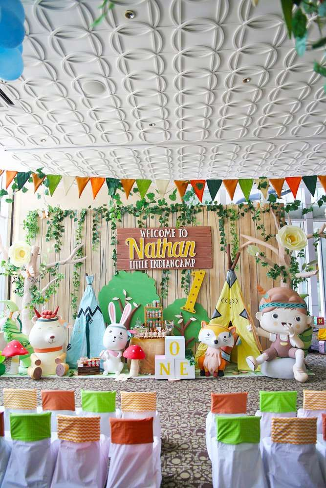 Camping Summer Camp Birthday Party Ideas Photo 19 Of 31 Woodland Birthday Party Tribal Birthday Party Boys 1st Birthday Party Ideas