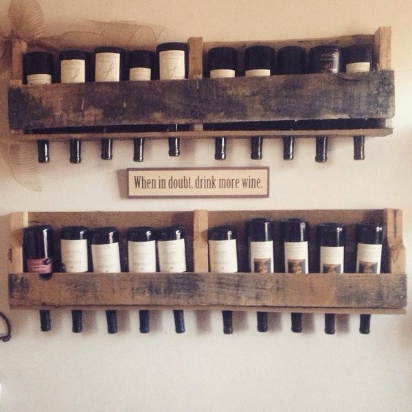 """Recycled pallet wine racks.... So cute and fun! About 42"""" long and holds about 10 bottles, short ones are about 22"""" long and hold about 5 bottles. Etsy sells them starting at around $45  I'm saving you and I money by selling them directly to you!! $35 for the long $25 for the short or 2-short ones for $40!! I make them as they are ordered!!!"""