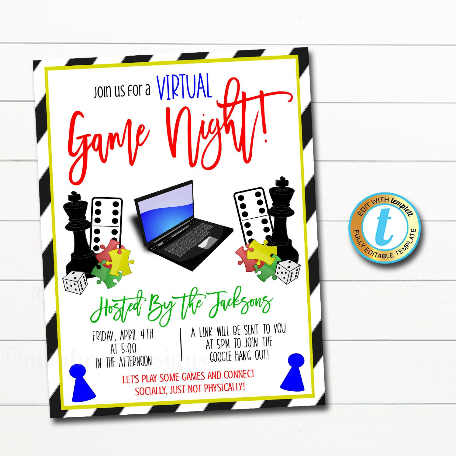 Editable Virtual Game Night Invitation Online Social Hangout