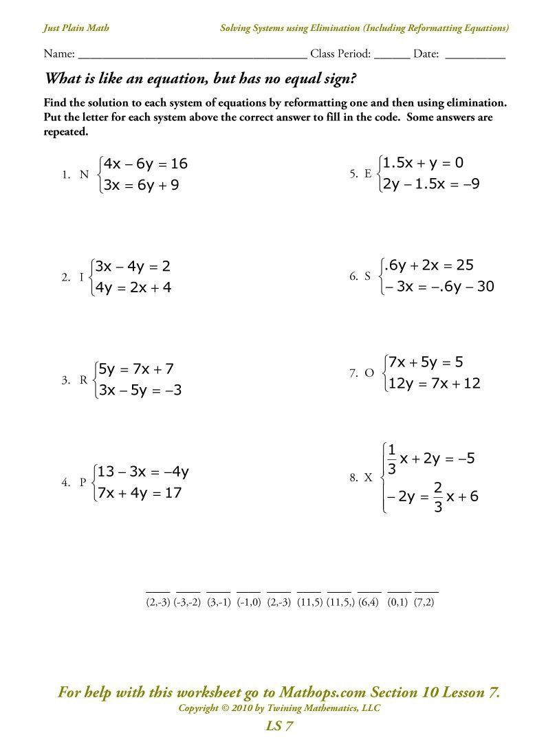 Solving Systems By Elimination Worksheet Solving Simple Equations Worksheet Ks3 Algebra Systems Of Equations Word Problem Worksheets Equations