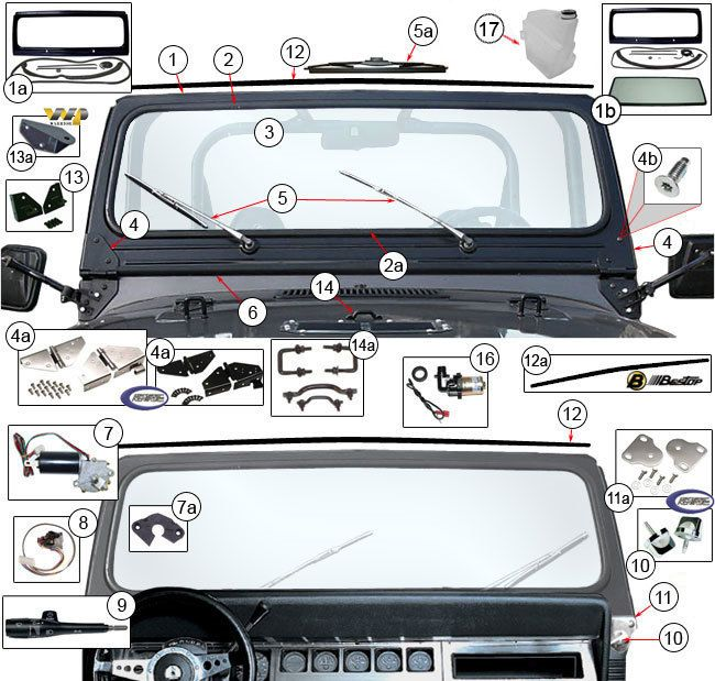 Jeep Wrangler Windshield Parts & Components