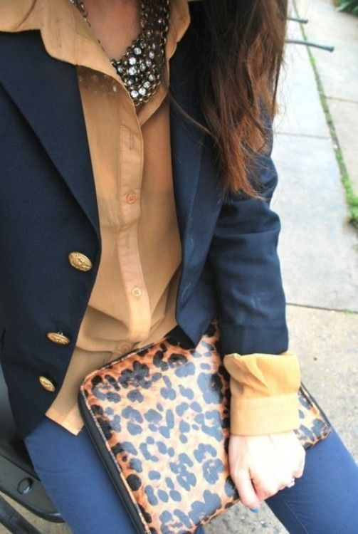 Love this entire ensemble. #Statement #Jewelry #Accessory #Leopard #Clutch #ButtonUp #Blazer #Fashion #Outfit #Style #Casual