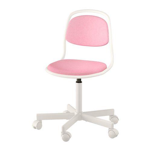 Schreibtischstuhl ikea pink  ÖRFJÄLL Schreibtischstuhl für Kinder, weiß, Vissle rosa | Desks ...