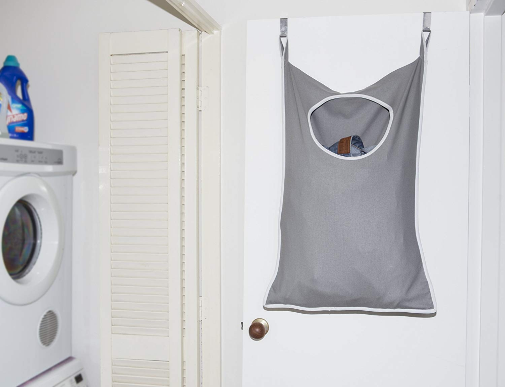 Amazon Com Urban Mom Laundry Nook Door Hanging Laundry Hamper With Stainless Steel Hooks Gray Large Size
