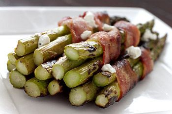 Bacon wrapped asparagus with goat cheese crumbles