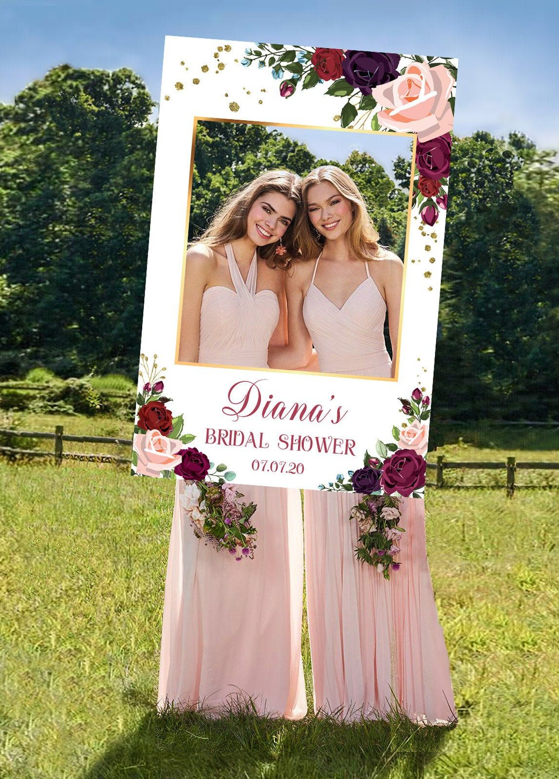 Floral Bridal Shower Digital Printable File. Photo Prop Frame Bridal Shower photo booth DIY blush olive green and gold