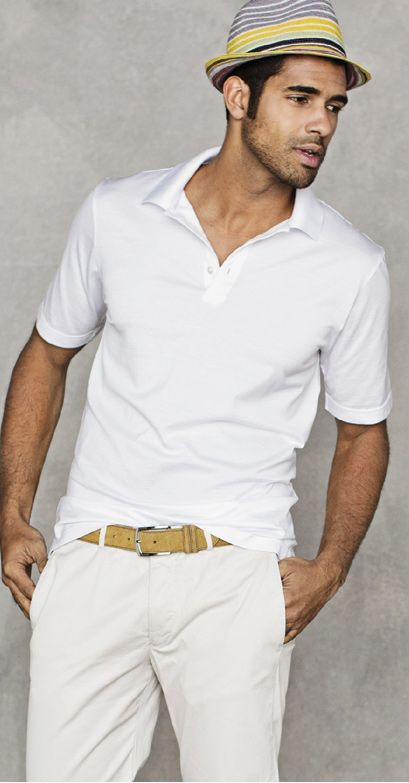 White Country Club Jersey Cotton Polo $69; Stone Luxury Cotton Trousers; Tan Custom Suede Belt