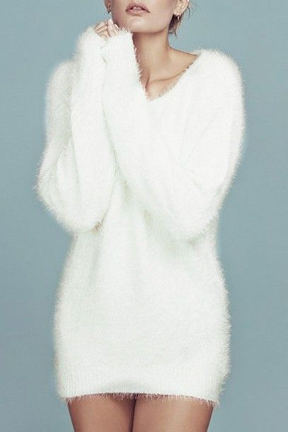 sweater white cute fall outfits winter outfits warm cozy fur long sleeves  casual jumper mohair fuzzy sweater dress sweater dress 3a857578e