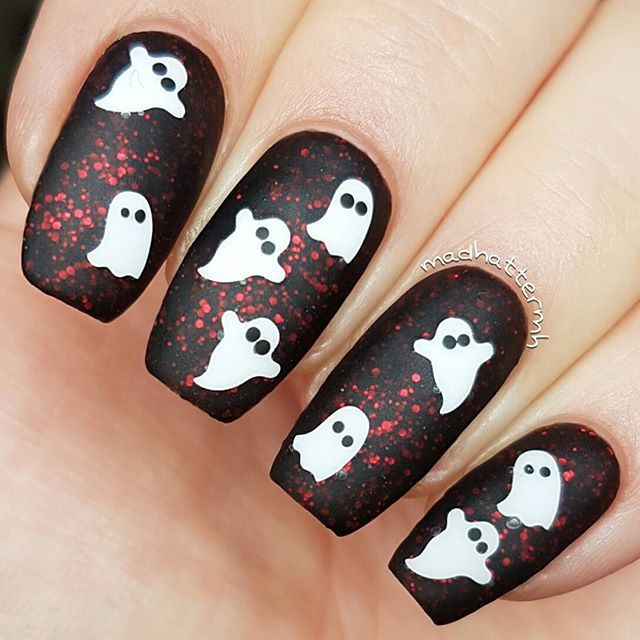 Painted Polishbylexi The Upside Down LE from the Stranger Things Duo //  SnailVinyls Ghost Nail Decals // Halloween Nails // Matte Nails // Nail Art  @ ... - Painted Polishbylexi The Upside Down LE From The Stranger Things Duo