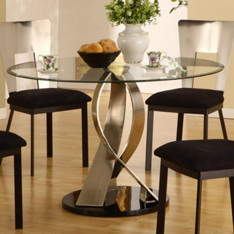 Furniture Remarkable Artistic Round Glass Top Dining Table Design