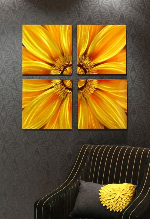 This Set Of Four Canvas Make A Real Point Of Difference For The Home Sunflower Canvas Art Painting Painting