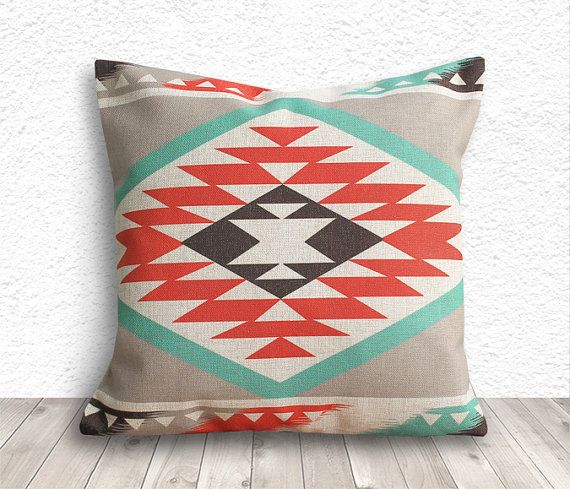 Good Pillow Cover, Aztec Pillow Cover, Tribal Pillow Cover, Linen Pillow Cover  18x18
