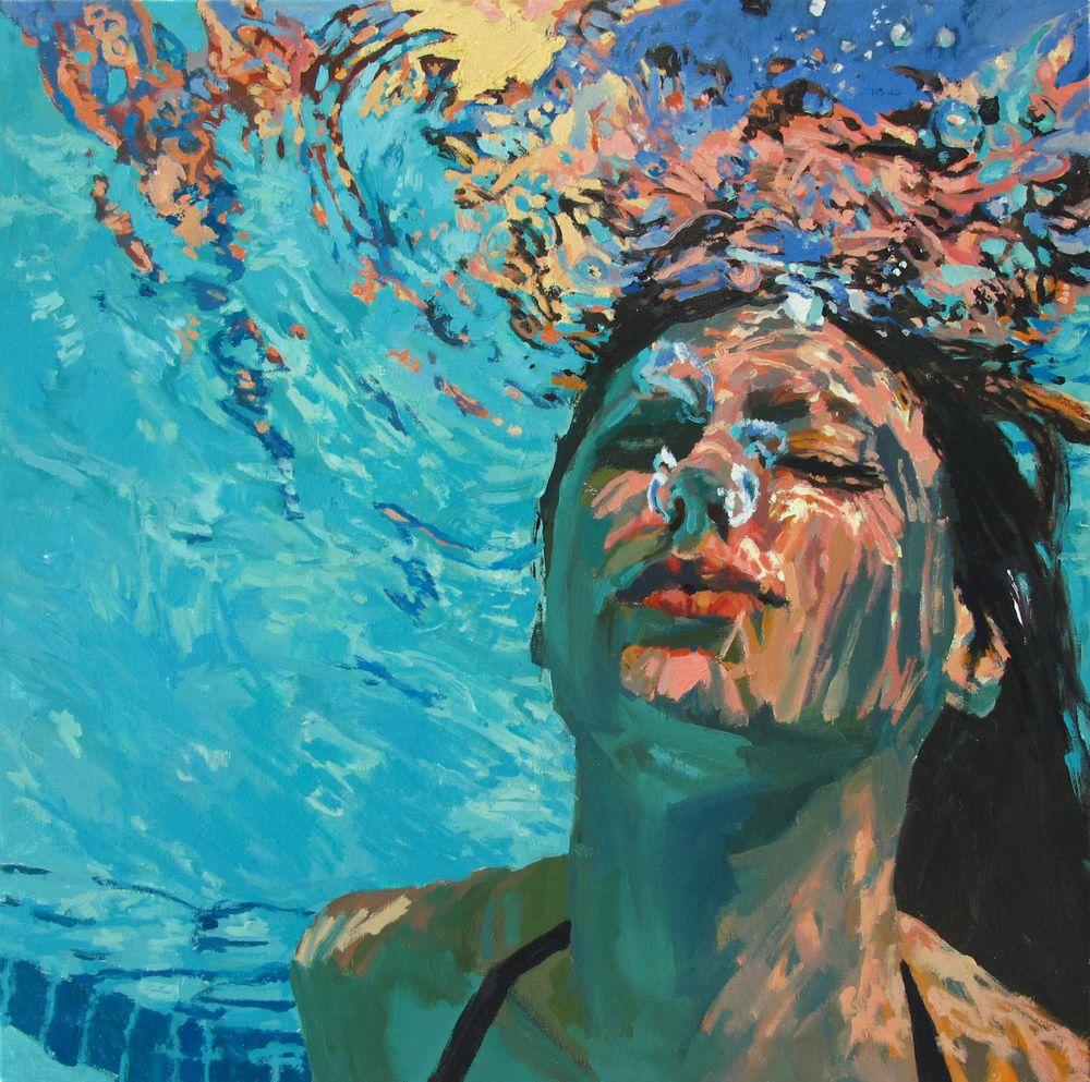 underwater painting of people by houston - 800×794