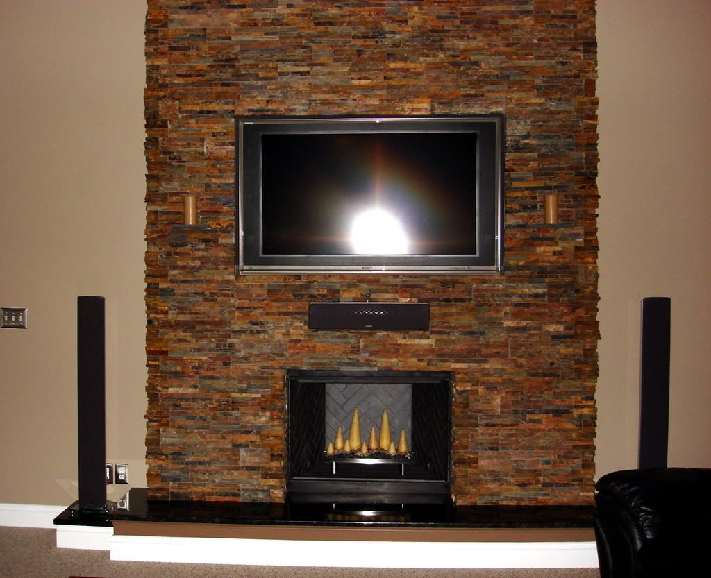 stacked slate fireplaces |  hearth and a stacked slate stone