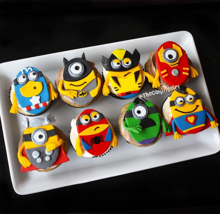 Superhero themed Minion Cupcakes! Fondant/Gumpaste cupcake ...