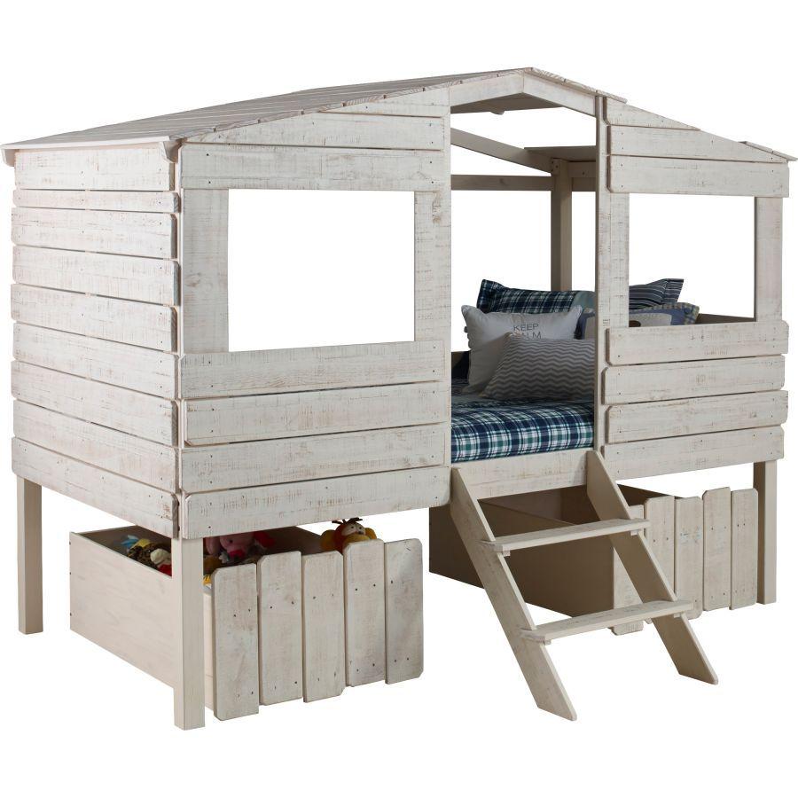 Diy Lit Cabane 90X190 fabriquer lit cabane soi meme bois blanc | maison, lit