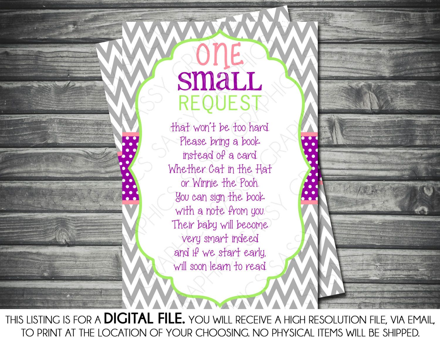 Girls Baby Shower Bring A Book Insert Card By SassyGraphicsDesigns