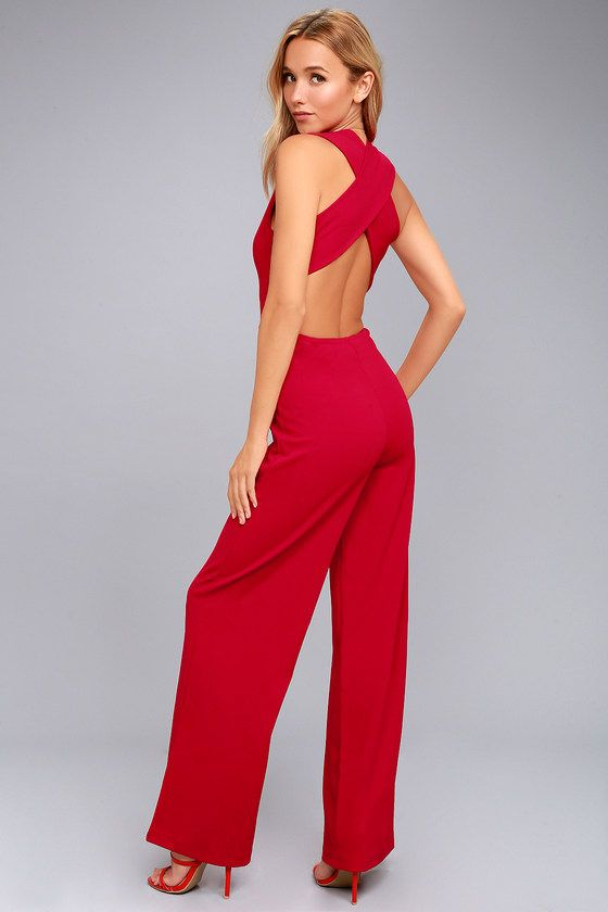 a7fb1228a3 Chic Red Jumpsuit - Backless Jumpsuit - Sleeveless Jumpsuit  49 ...