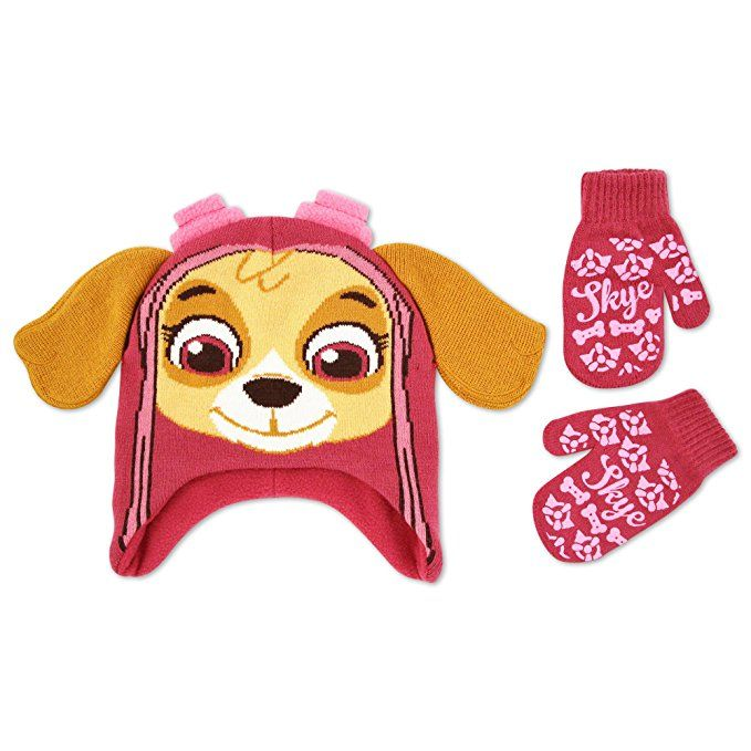big sale c56ee 69fa6 Nickelodeon Toddler Girls Paw Patrol Skye Acrylic Hosiery Knit Contoured  Short Winter Hat with Knit Ears and Matching Mitten Set, Pink, One Size