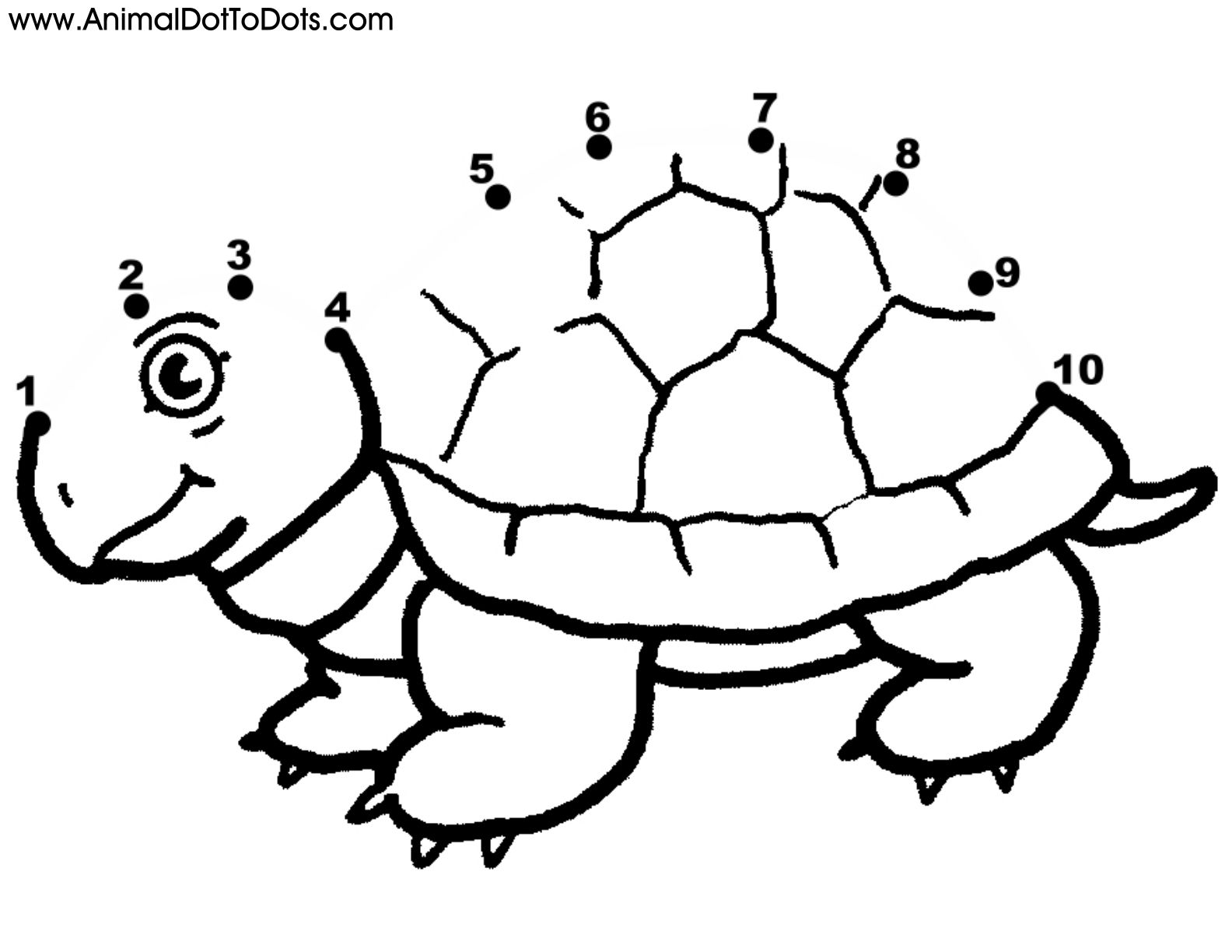 Free Printable Animal Dot To Dot Turtle