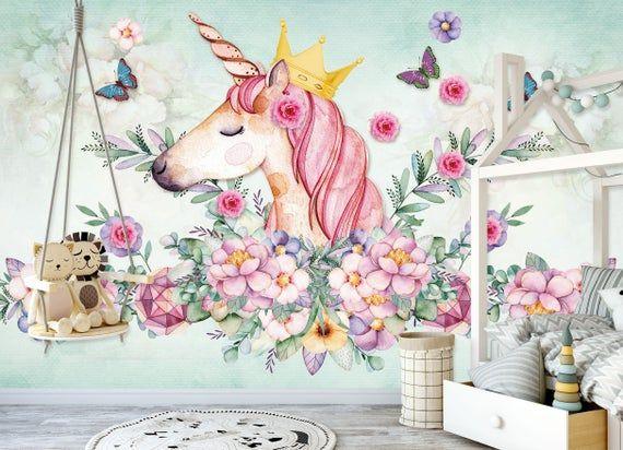 3d Flowers Unicorn Wgn196 Wallpaper Mural Decal Mural Photo Etsy Unicorn Painting Unicorn Wallpaper Unicorn Card