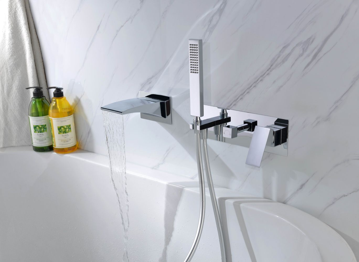 SUMERAIN S2121CW wall mounted bathtub faucet with hand held shower ...