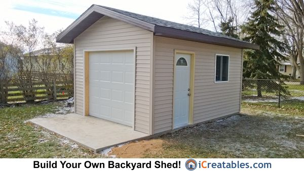 12x16 Shed Plans With Garage Door Icreatables Shed Shed Plans Shed Plans 12x16