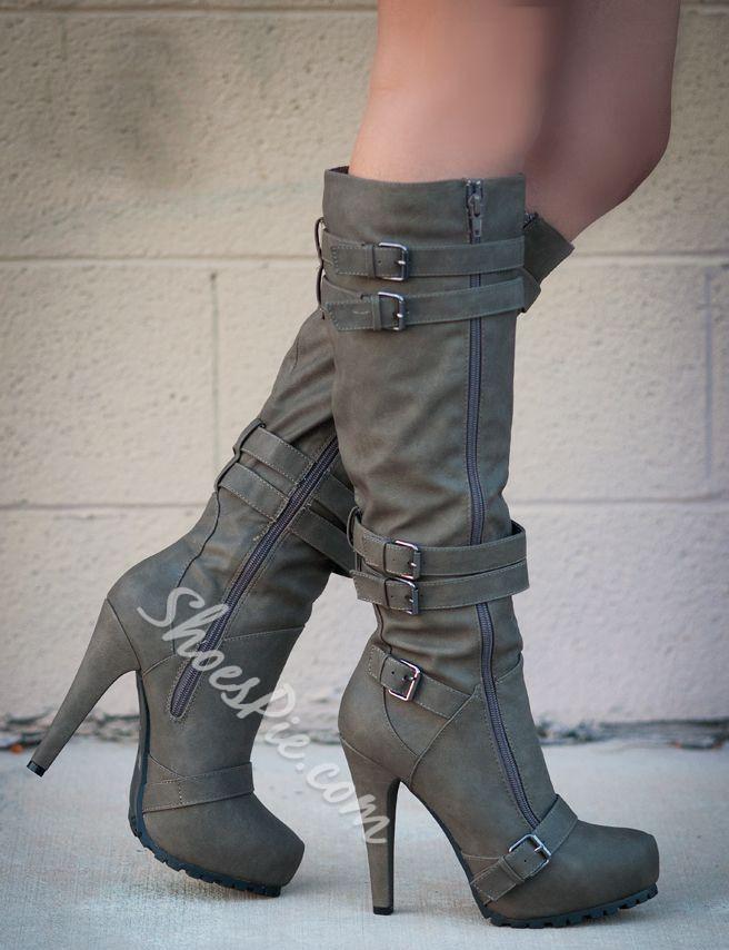 Shoespie Camel Coppy Stiletto Heel Knee High Boots 5