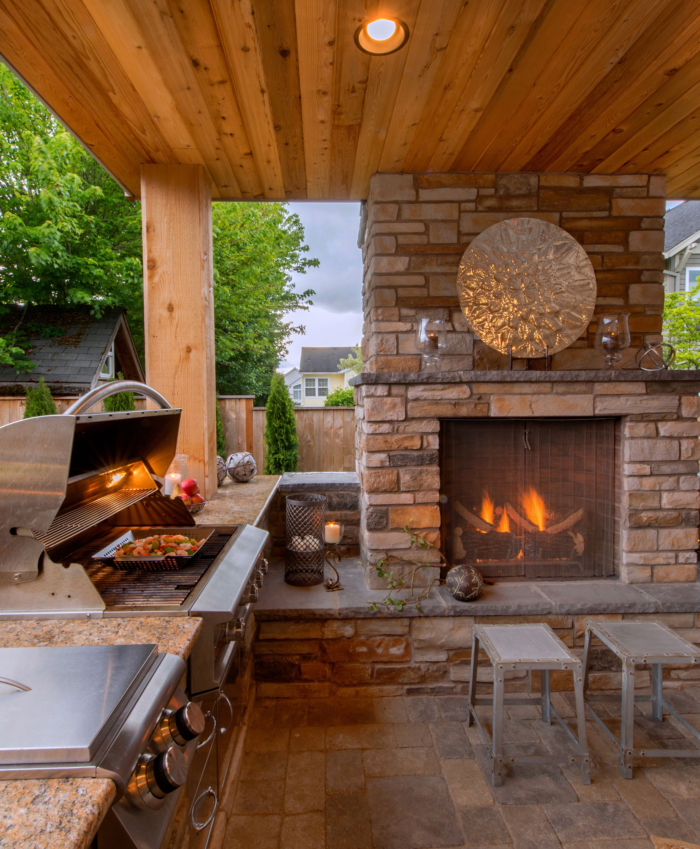 Outdoor Kitchen Wood Countertops: Cozy Outdoor Kitchen And Fireplace Http://www