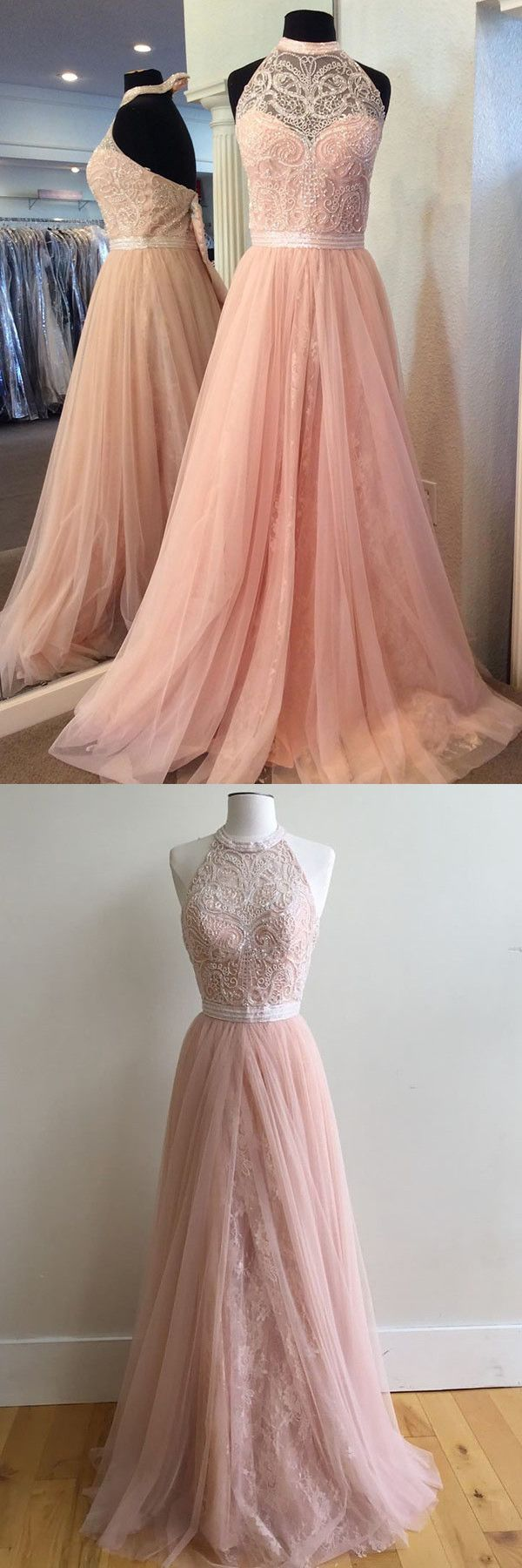 pink long prom dress halter pink long prom dress prom dress