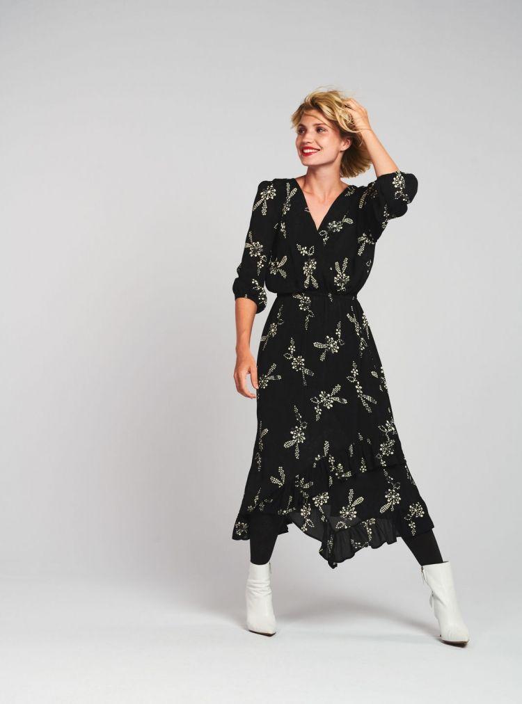 Betere Lange jurk met v-hals Zwart (met afbeeldingen)   Lange jurken MR-26