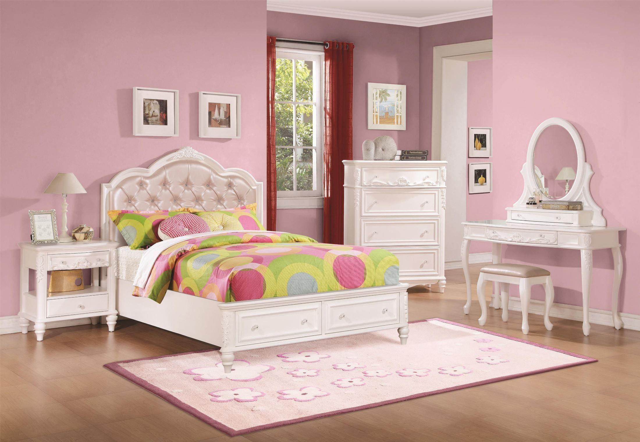 Caroline White Diamond Tufted Youth Storage Platform Bedroom Set Upholstered Bedroom Set Bedroom Set Platform Bedroom Sets