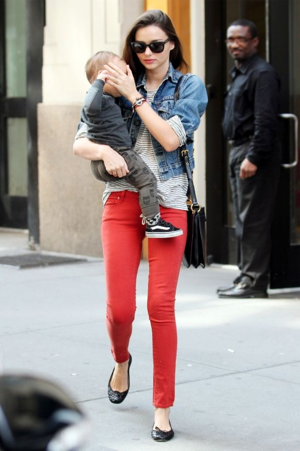 Miranda Kerr in Red Skinnies and Denim Jacket..