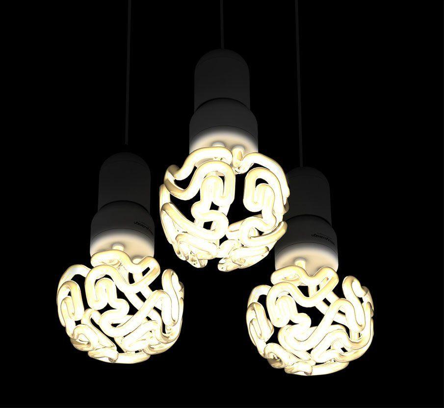 A Quirky Light Bulb That Looks Like A Glowing Human Brain Designtaxi Com Light Bulb Design Creative Lamps Chandelier Design