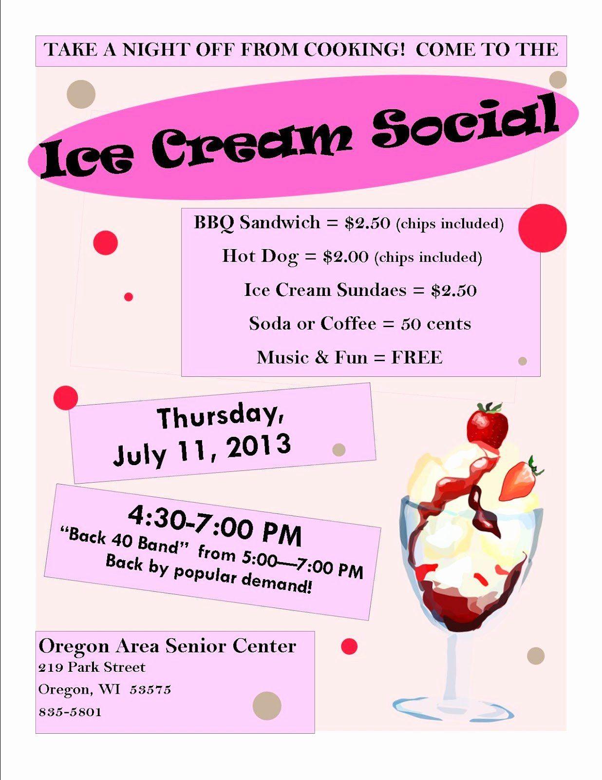 Ice Cream Social Flyer Beautiful Oregon Area Senior Center Council On Aging 07 01 2013 08 01 2013 Flyer Template Flyer Ice Cream Social