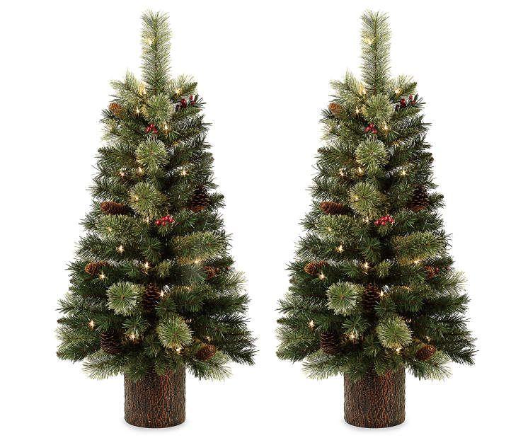 35\u0027 Dancer Pre-Lit Cashmere Artificial Christmas Urn Trees, 2-Pack