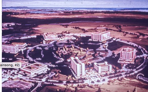 Uc Irvine From The Original Drawing We All Were Amazed To Imagine That Land Being Opened Up For A University And Now It Is Huge An Irvine Tours Los Angeles