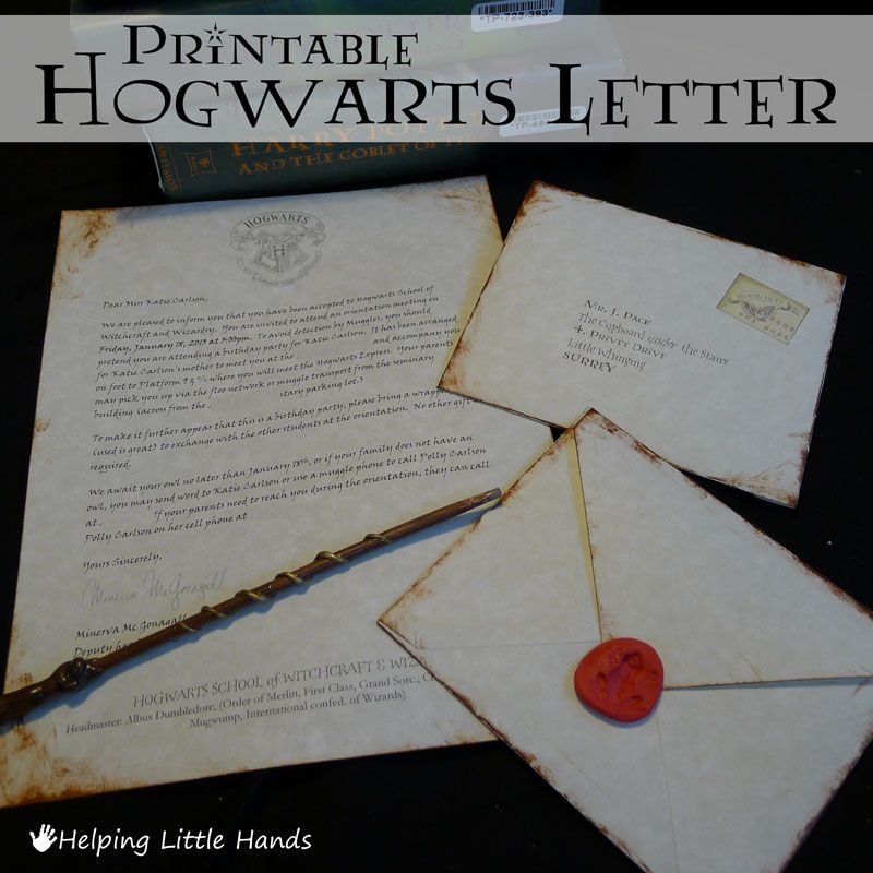 birthday invitatioletter to friends%0A Helping Little Hands  Printable Hogwarts Acceptance Letters  or Harry  Potter Party Invitiations