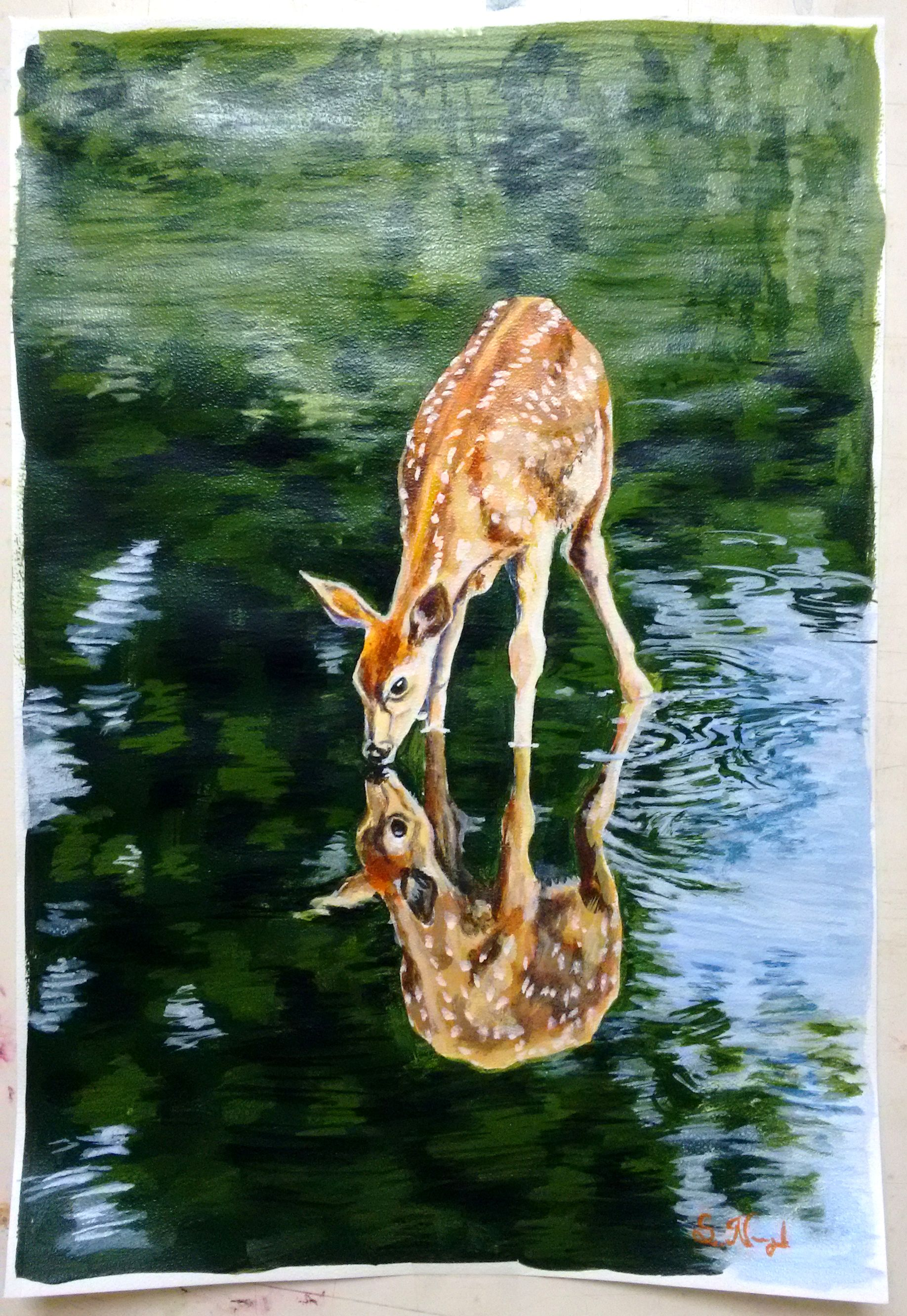 Deer Drinking Water Drawing : drinking, water, drawing, Drinks, Water, Forest, Stream, Painting,, Wildlife, Prints,, Painting