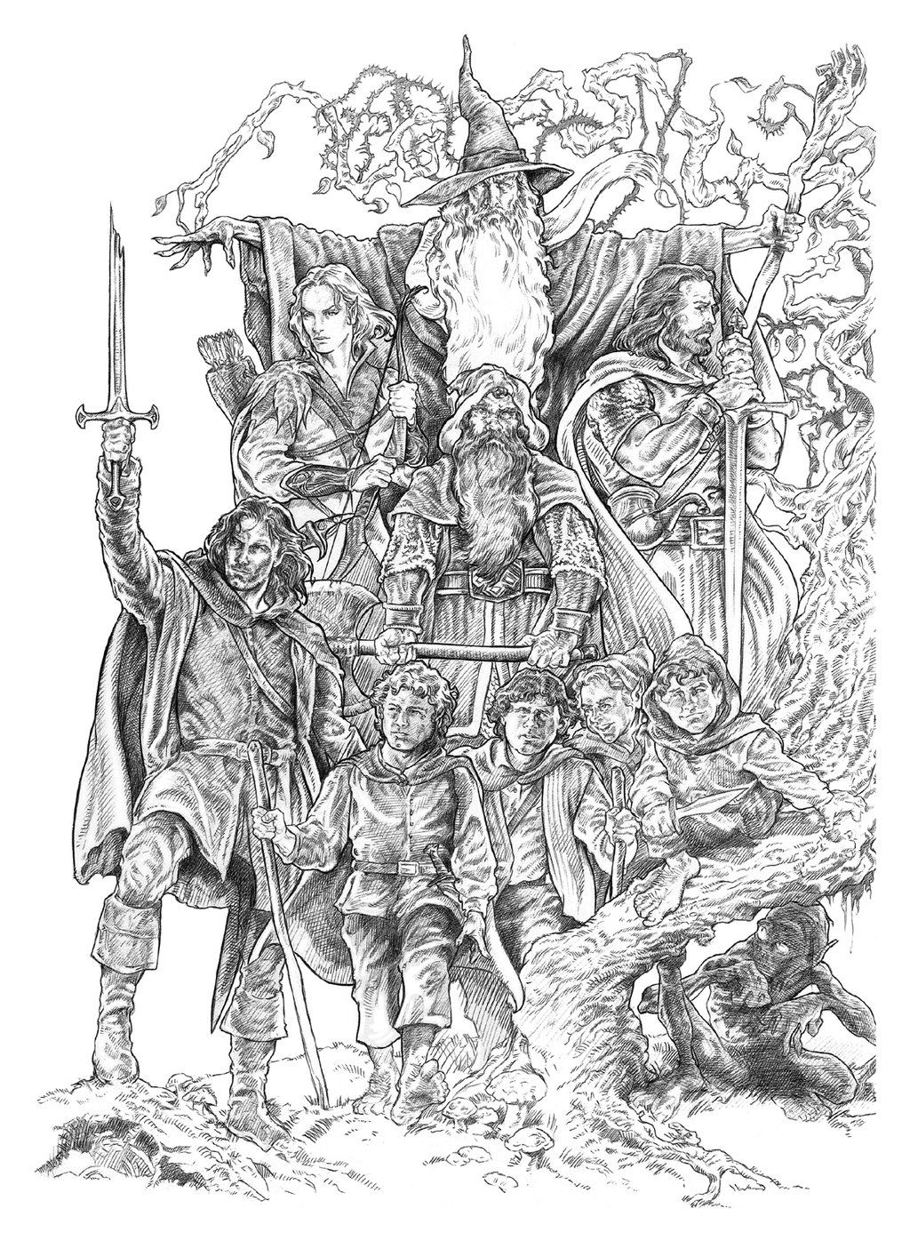 Lthe Company Bw By Nachocastro On Deviantart Coloring Pages The Hobbit Tolkien Art