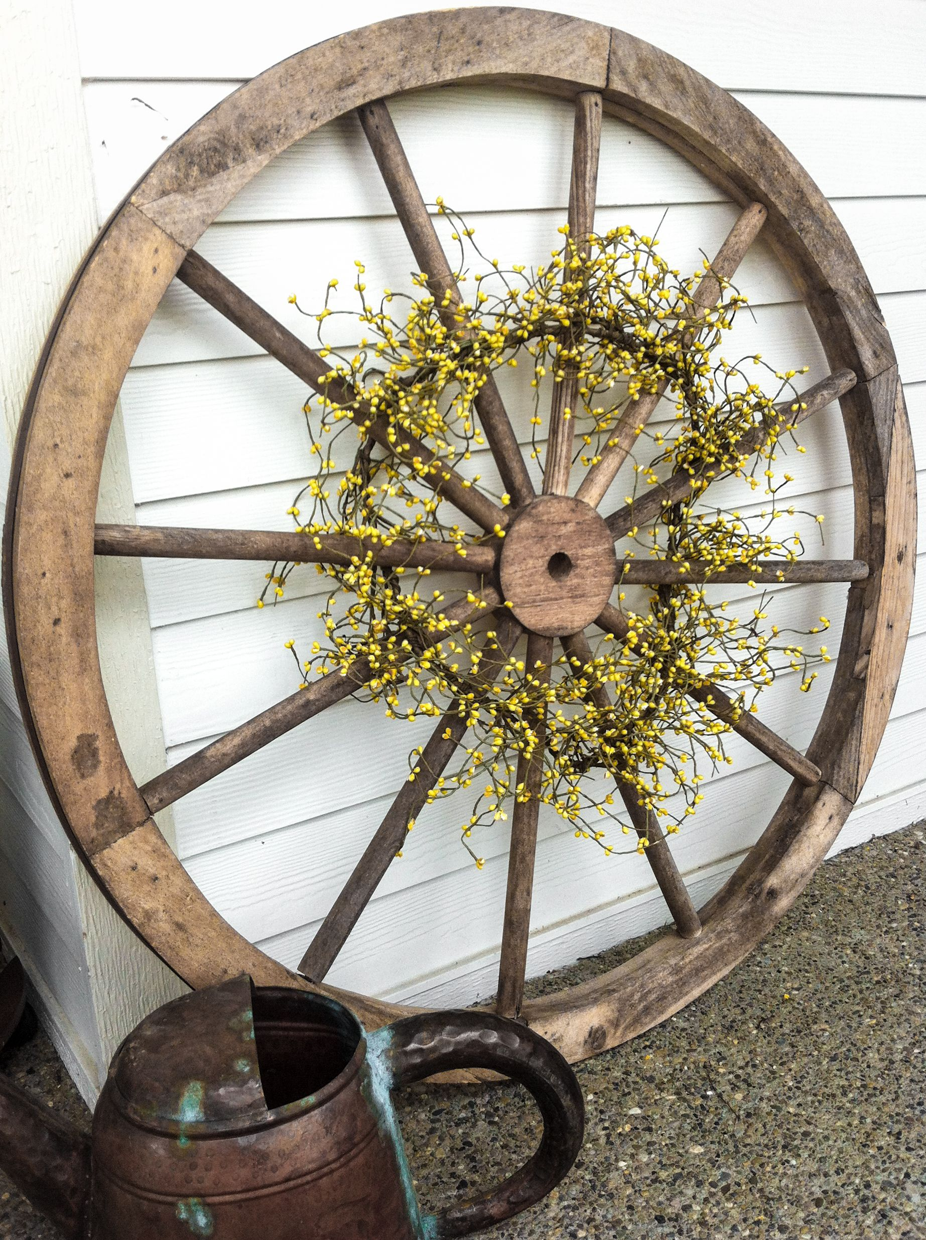 From my front porch   Wagon wheel decor, Wheel decor ...