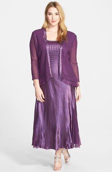 Komarov Pleated Charmeuse Dress & Jacket (Plus Size) available at ...