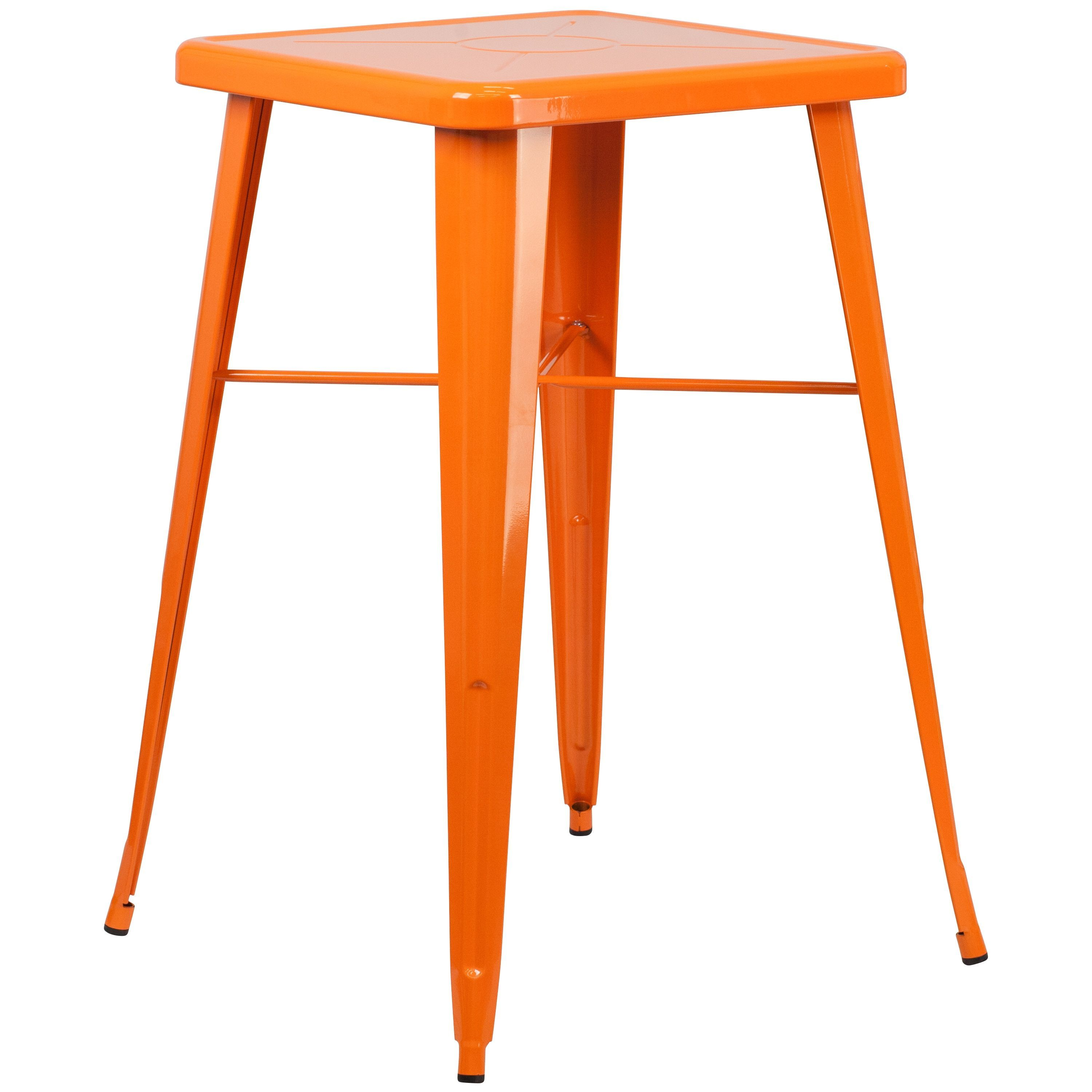 Flash Furniture Square Metal Indoor/Outdoor Bar Height Table (Orange), Patio Furniture