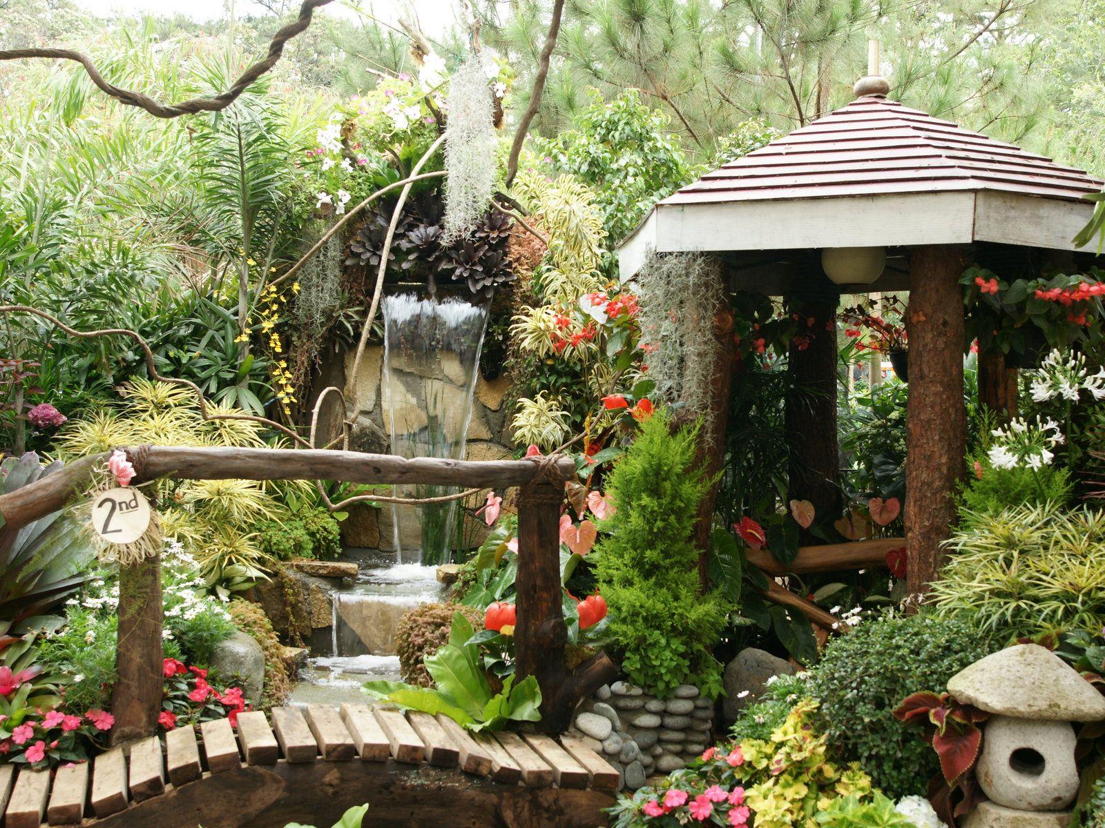 jardines tropicales más bellos con cascada gardens pinterest