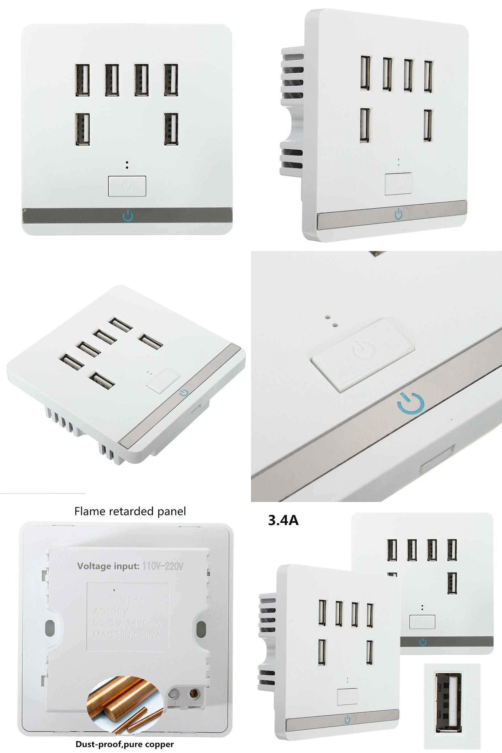 Visit to Buy] 2.1A 6 USB Port Standard Wall Electrical Socket Home ...