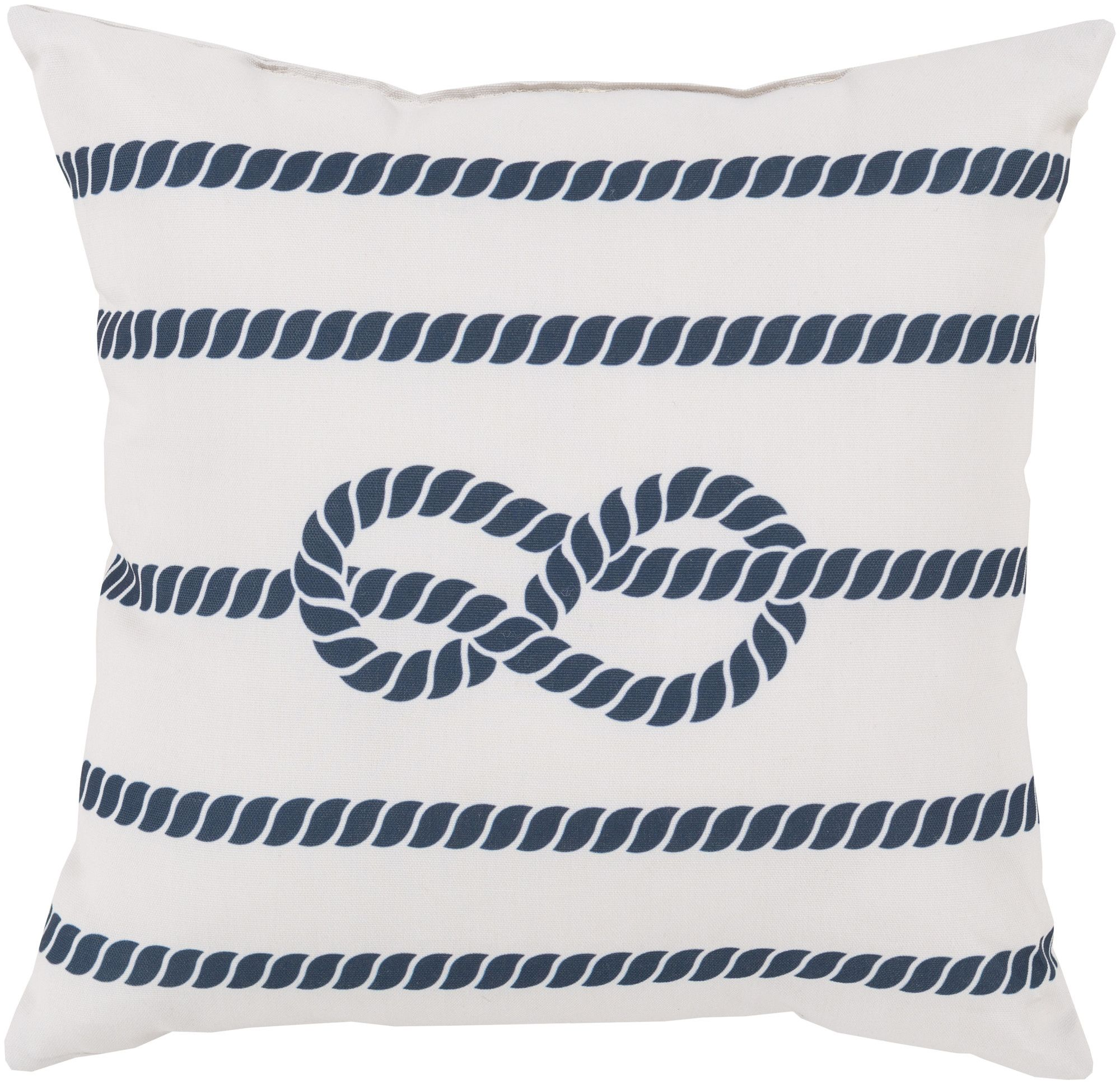 Odysseus Pillow In Ivory And Navy Rope Design The Beach Bungalow