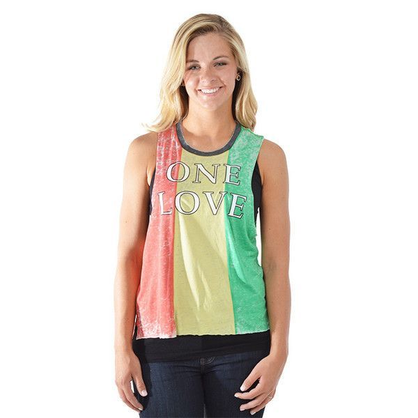 """Chaser Red Yellow and Green Muscle Crop """"One Love"""" Tank"""