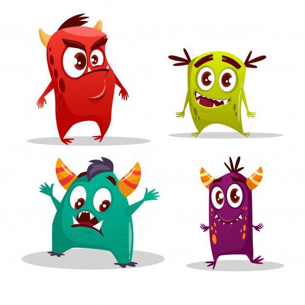 Conjunto de monstruo lindo de dibujos animados. divertidas criaturas ...